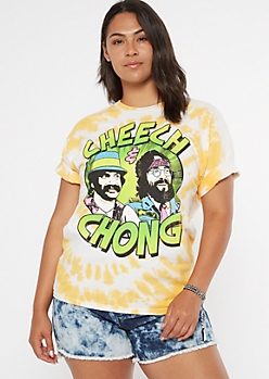 Plus Yellow Tie Dye Cheech And Chong Graphic Tee