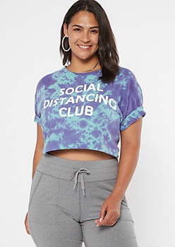 Plus Purple Tie Dye Social Distancing Club Graphic Tee