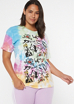 Plus Tie Dye Poetic Justice Doodle Graphic Tee