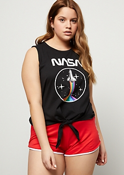 Plus Black Rainbow NASA Graphic Tank Top