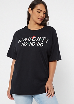 Plus Black Naughty Graphic Tee