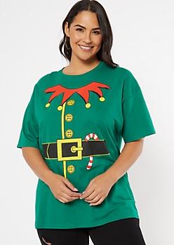 Plus Green Elf Suit Graphic Tee