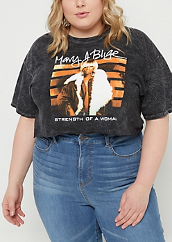 Plus Black Washed Mary J Blige Crop Top