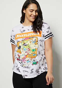 Plus Gray Tie Dye Nickelodeon Striped Graphic Tee