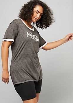Plus Black Coca Cola Burnout Ringer Tee