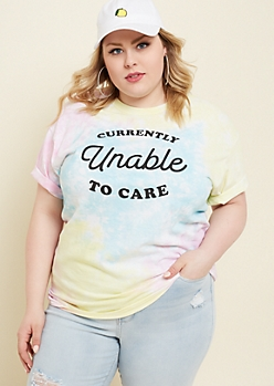 Plus Pastel Tie Dye Unable To Care Tee