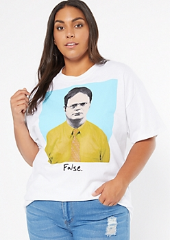 Plus White Dwight False Graphic Tee