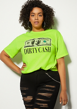 Plus Neon Yellow Dirty Cash Graphic Tee