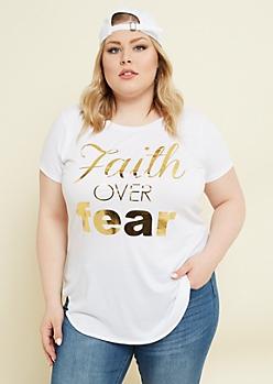 Plus White Faith Over Fear Metallic Tee