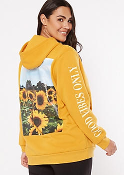 Plus Yellow Good Vibes Sunflower Graphic Hoodie