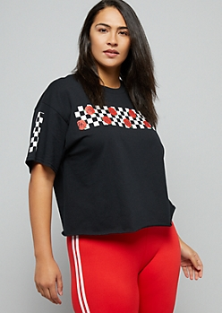 Plus Black Checkered Rose Print Side Striped Skimmer Tee