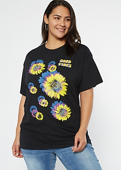 Plus Black Pop Art Sunflower Graphic Tee