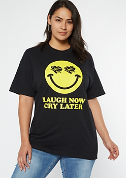 Plus Black Pop Cry Later Graphic Tee