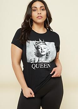 Plus Black Marilyn Monroe Queen Fitted Tee