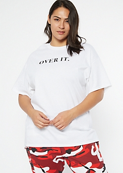 Plus White Over It Graphic Tee