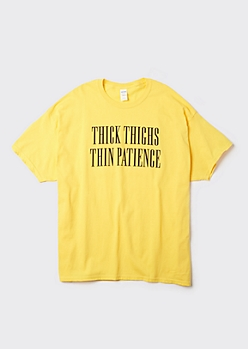 Plus Yellow Thin Patience Graphic Tee