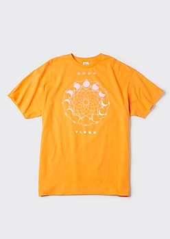 Plus Orange Good Vibes Celestial Graphic Tee
