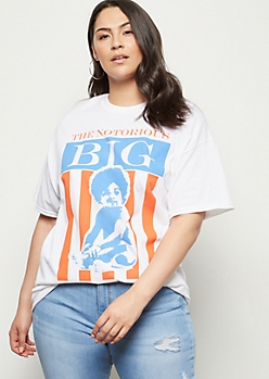 Plus White Notorious Big Baby Graphic Tee