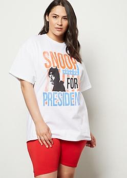 Plus White Snoop For President Graphic Tee