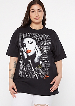 Plus Black Selena Doodle Graphic Tee