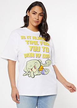 Plus White Squidward Ruin My Day Graphic Tee
