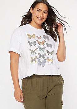 Plus White Butterfly Chart Drop Sleeve Graphic Tee