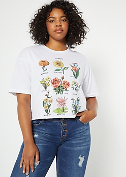 Plus White Wildflower Chart Drop Sleeve Graphic Tee