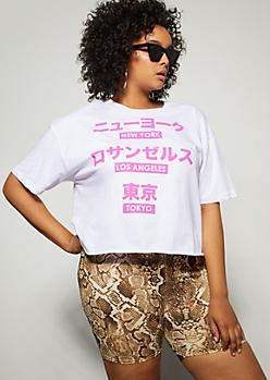 Plus White Kanji Cities Raw Cut Graphic Tee