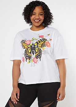 Plus White Floral Butterfly Postcard Graphic Tee