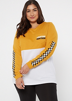 Plus Mustard Colorblock Limited Edition Graphic Tee