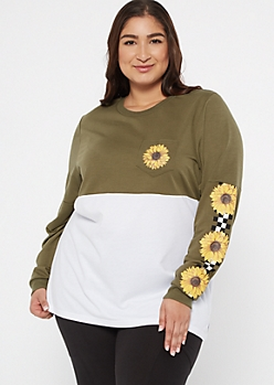 Plus Olive Colorblock Sunflower Checkerboard Graphic Tee