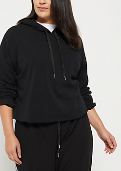 Plus Black Side Striped Cropped Hoodie