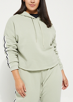 Plus Light Green Side Striped Cropped Hoodie