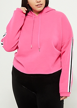 Plus Pink Side Striped Cropped Hoodie