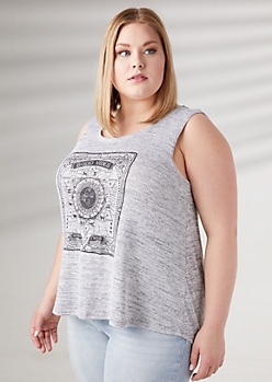 Plus Gray Moon Child Hacci Knit Swing Tank Top