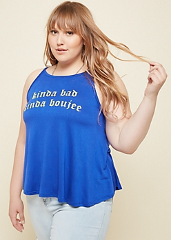 Plus Blue Bad Boujee High Neck Tank Top