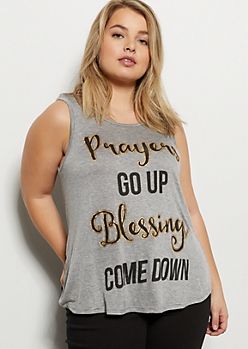 Plus Gray Blessings Glitter Graphic Tank Top