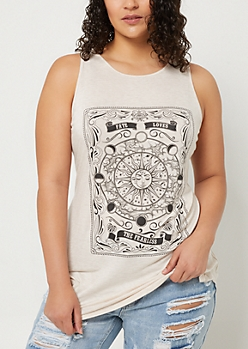 Plus Oatmeal Fearless Fate High Neck Tank Top