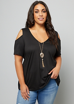 Plus Black Cold Shoulder Necklace Top