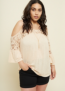 Plus Cream Lace Cold Shoulder Necklace Top