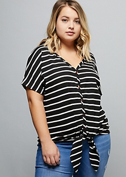 Plus Black Striped Ribbed Knit Tie Front Top