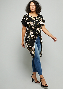 Plus Black Floral Print Short Sleeve High Low Tunic