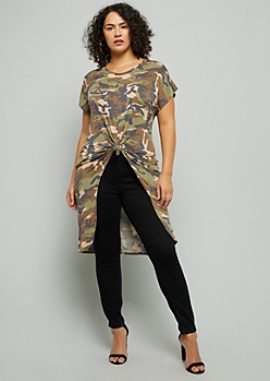 Plus Camo Print Short Sleeve High Low Tunic