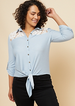 Plus Dark Wash Lace Knot Front Button Down Shirt
