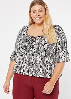 Plus Snakeskin Print Super Soft Peplum Top