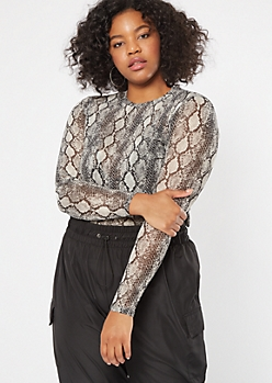 Plus Snakeskin Print Mesh Long Sleeve Tee