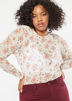 Plus Ivory Floral Print Mesh Long Sleeve Tee