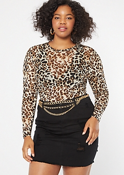 Plus Leopard Print Mesh Long Sleeve Tee