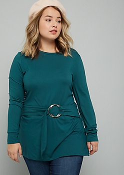 Plus Green Super Soft Ring Belted Tunic