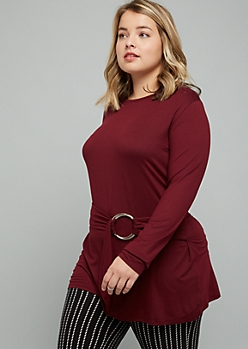 Plus Burgundy Super Soft Ring Belted Tunic